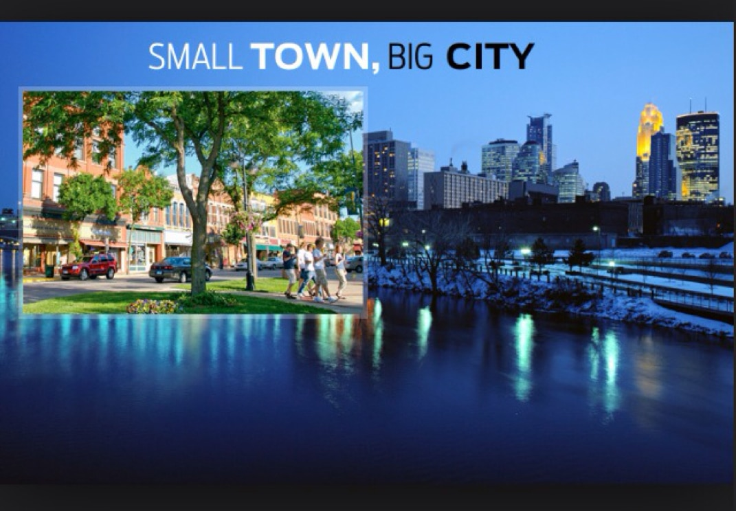 Image of a small town vs a big city
