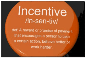 Photo of a button with the definition of Incentive