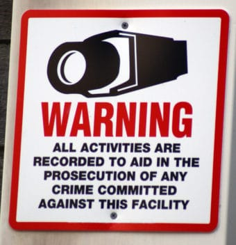 Image of sign for security cameras