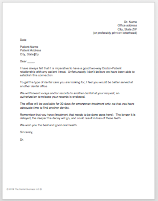 Patient Dismissal Letter   The Dental Business
